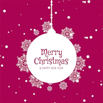 Pink color merry christmas decorative greeting background