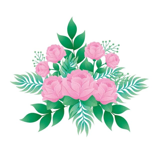 ピンク色のバラの花と葉の装飾的なアイコンのデザイン