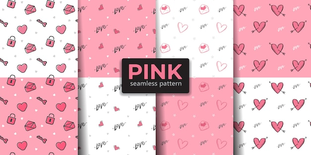Pink color valentine seamless pattern collection.