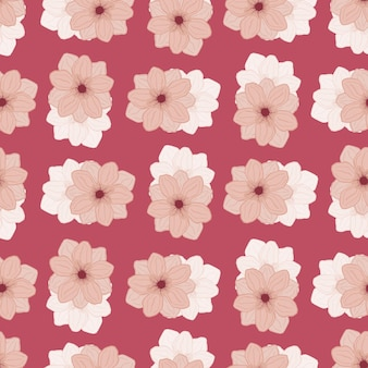 Pink colored abstract seamless floral pattern with simple style anemone flowers print. hand drawn artwork. vector illustration for seasonal textile prints, fabric, banners, backdrops and wallpapers.