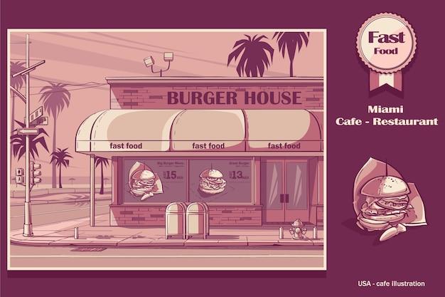 Розовый цветной фон burger house в майами, сша.