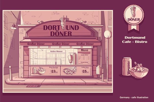 Pink colored background cafe-bistro in dortmund, germany.
