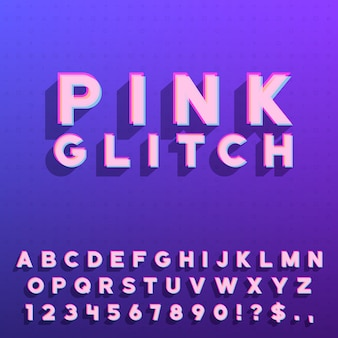 Pink colored glitch letters set with numerals and some punctuation symbols. alphabet sans-serif font effect and shadow
