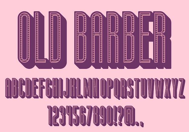 Розовые цветные старинные буквы, сжатый шрифт. ретро с тенями