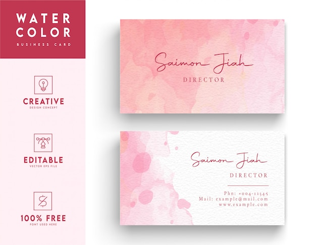 Pink colorful watercolor business card template