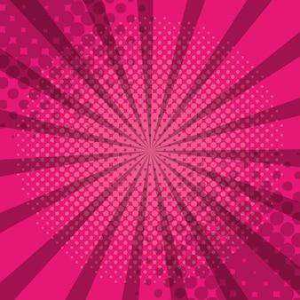 Pink comic pop art hlaftone sunburst