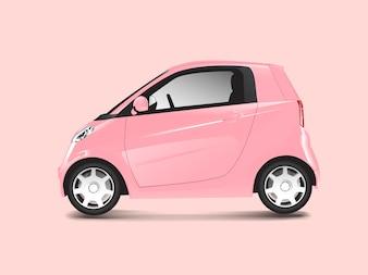 Pink compact hybrid car vector