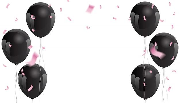 お祝いの背景にピンクの紙吹雪と黒い風船