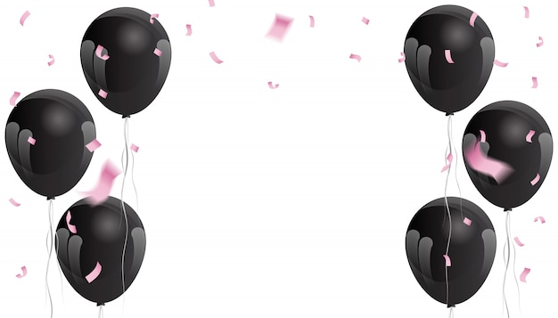 Pink confetti and black balloons for the background of the celebration