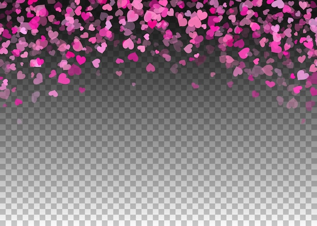 Pink confetti hearts on transparent