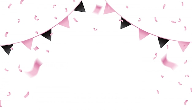 Pink confetti and pennant flag for the celebration