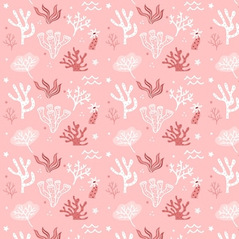 Pink coral pattern template with seaweed