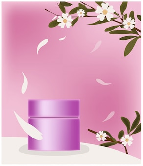 Pink cosmetic jar surrounded by petals. place for brand. twigs with flowers decoration