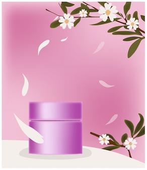 花びらに囲まれたピンクの化粧品の瓶。ブランドのための場所。花の装飾の小枝