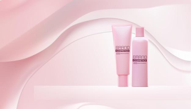 抽象的な背景にピンクの化粧品..