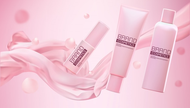 Pink cosmetic products with smooth fabric with shimmering effect on pink