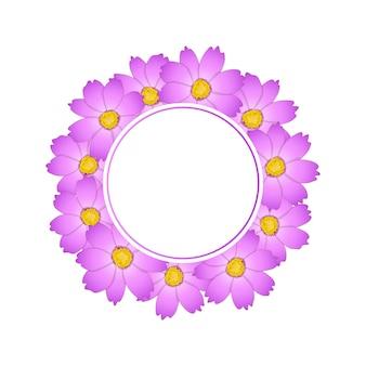핑크 코스모스 꽃 배너 화환