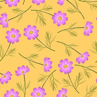 노란색 바탕에 핑크 코스모스 꽃