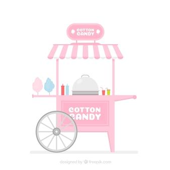 평면 디자인의 핑크 솜사탕 카트