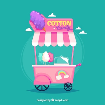 Pink cotton candy cart with rainbow Free Vector
