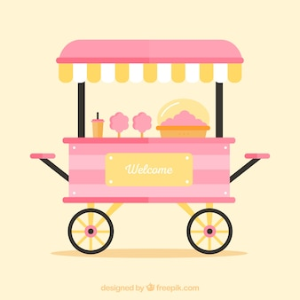 Pink cotton candy kiosk on wheels