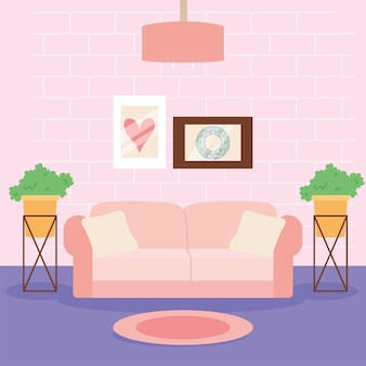 Pink couch in livingroom scene