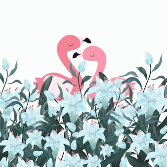 Pink couple flamingo in blue flower forest.