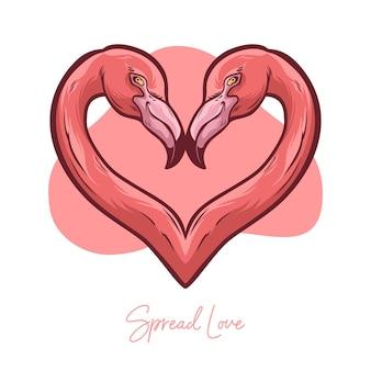 Розовая пара фламинго в любви на день святого валентина
