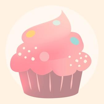 Pink creamy cupcake design vector