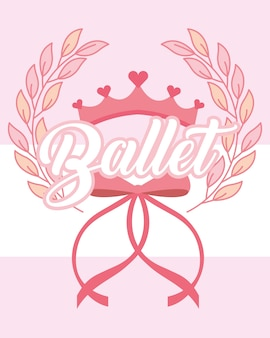 Pink crown and bow ballet emblem