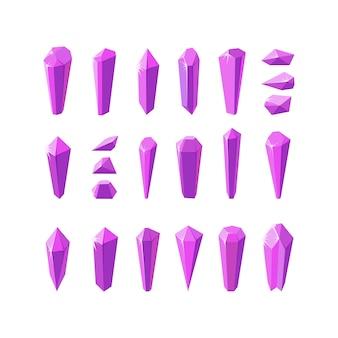 アメジストクォーツのようなピンクのクリスタルストーン宝石やガラスクリスタルの大きなセット
