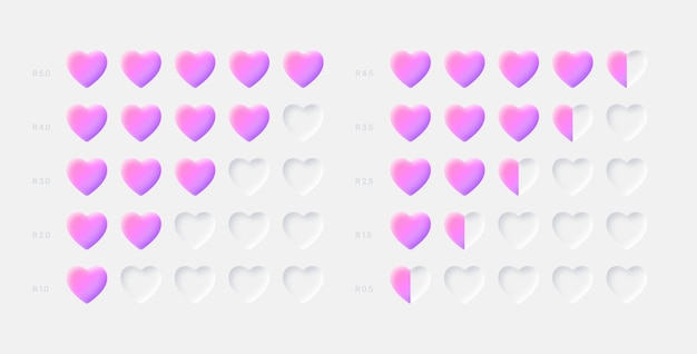 Pink customer feedback rank scale with hearts on white