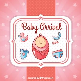 Розовый мило карта ребенка прибытия