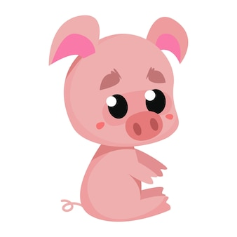 만화 스타일의 흰색 배경 벡터 일러스트 레이 션에 핑크 귀여운 만화 돼지 그림
