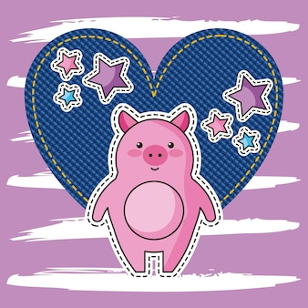 데님 하트 사랑 핑크 귀여운 자수 돼지 별