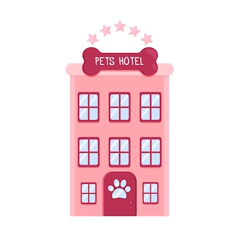 Pink cute hotel for pets pet shop or hotel concept pets care services flat vector illustration