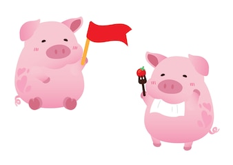 Pink cute pig character design vector