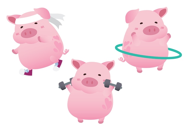 Pink cute pig exercise diet character design vector