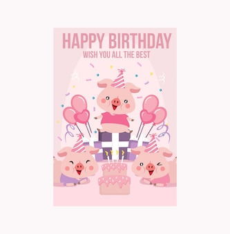 핑크 귀여운 돼지 돼지 생일 카드