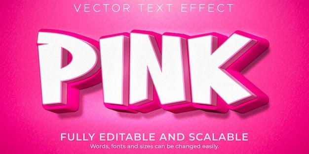 분홍색 귀여운 텍스트 효과 편집 가능한 가볍고 부드러운 텍스트 스타일