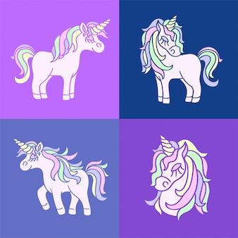 Pink cute unicorn sketch set on purple