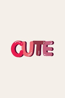 Pink cute word on off white background