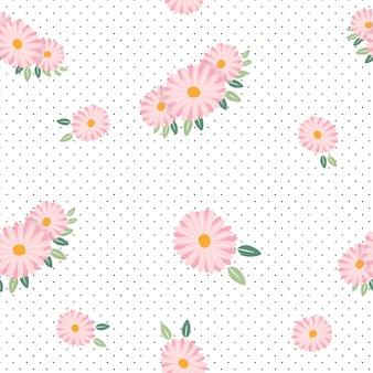 ピンクのデイジー春のシームレスパターン