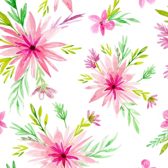 Pink daisy watercolor background