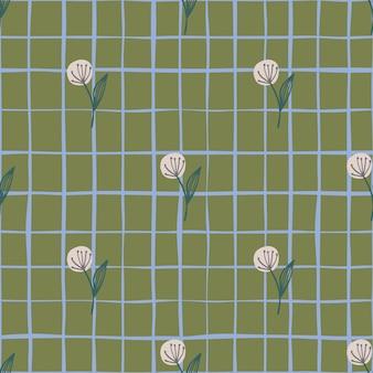 Pink dandelion on botanic seamless pattern.