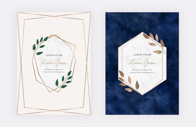 Pink and dark blue botanical design cards with geometric marble frames and leaves. trendy templates