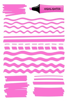Pink dashed and wavy highlight lines and squares