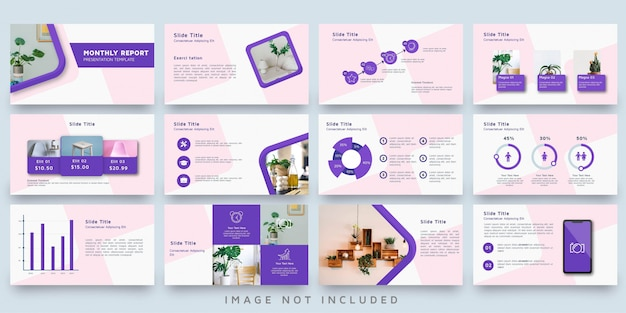 Pink decoration presentation template set
