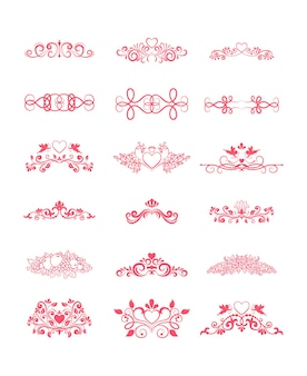 Pink decorative vector curly elements with hearts and flowers