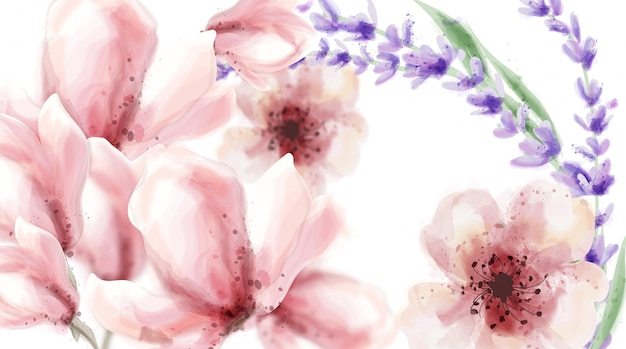 Pink delicate flowers and lavender in watercolor